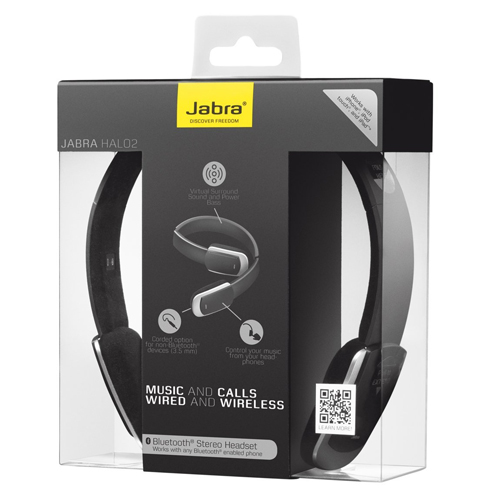 genuine brand new jabra halo 2 bluetooth stereo headset in black ebay. Black Bedroom Furniture Sets. Home Design Ideas