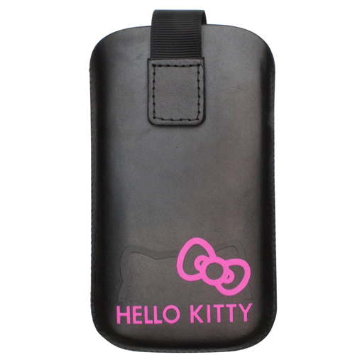 GENUINE NEW HELLO KITTY UNIVERSAL LEATHER POUCH SMARTPHONES BLACK PINK HKPBK1