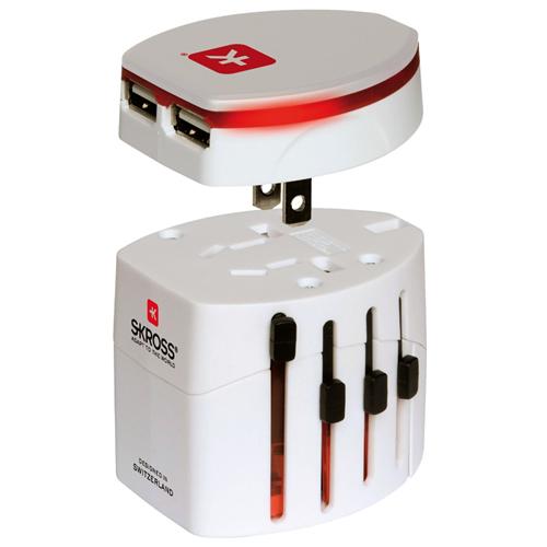 New Skross Evo World Worldwide Dual Usb Multi Travel Charger Adaptor Plug White Ebay