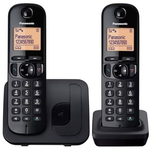 New panasonic twin cordless dect phone with call block in black kx