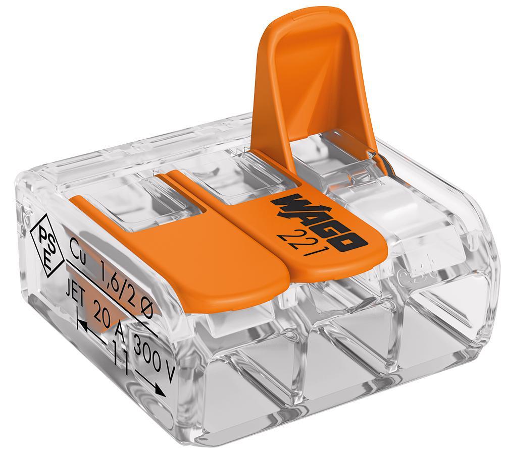 Wago Connectors 221 Series 2 , 3 & 5 Port Lever Cage Clamp Mini Terminal Blocks