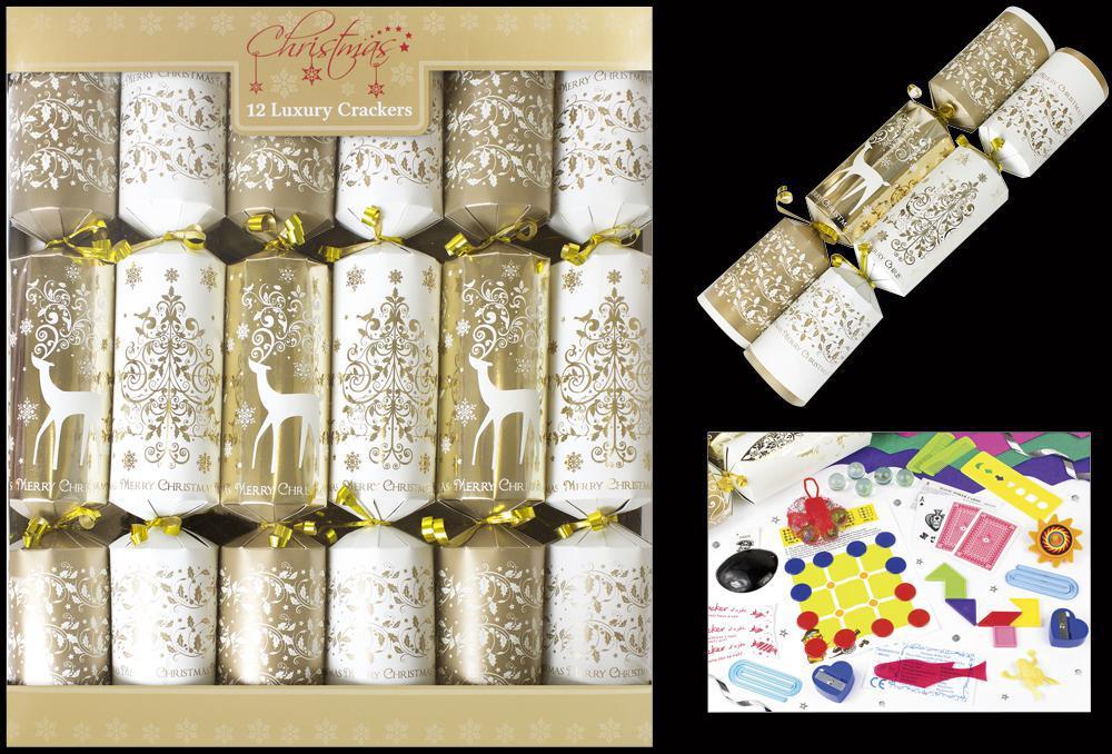 12 Luxury Crackers Gold Tree Reindeer Christmas Table