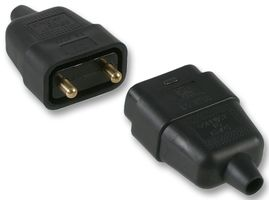 PRO ELEC - 0128-BK - ELECTRIC LEAD CONNECTOR RUBBER 10A 2 PIN BLACK