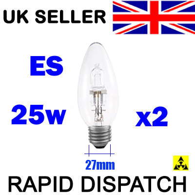 Candle Bulbs Halogen 25w=40w Screw Cap ES E27 x 2