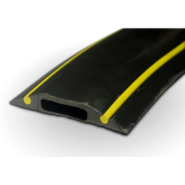 pc229 rubber cable floor cover protector hazard black yellow 10cm piece ebay. Black Bedroom Furniture Sets. Home Design Ideas