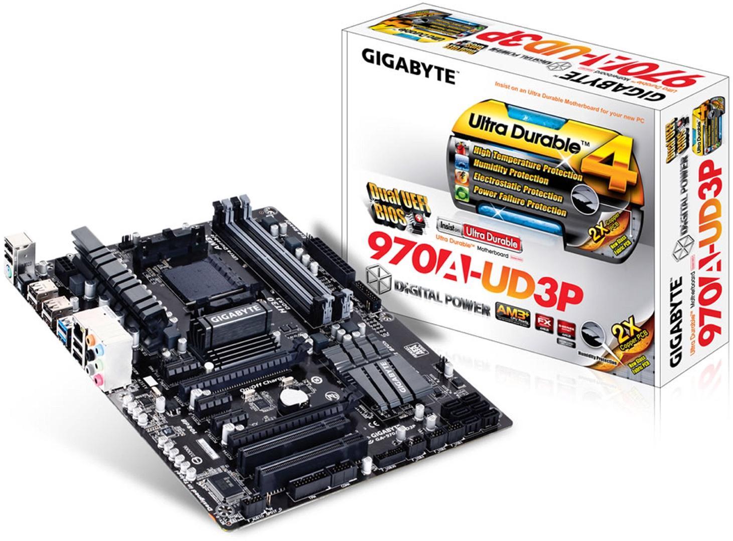 Gigabyte 970A-UD3P Motherboard Socket AM3+ AMD 970 SB950 DDR3 SATA RAID ATX