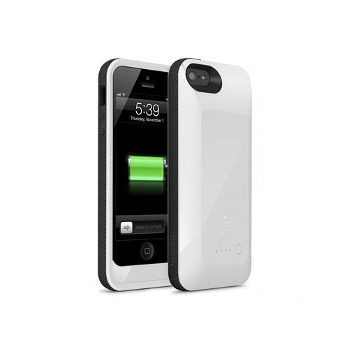 F8W292VFC01 Belkin Grip Power Battery Case (White) for iPhone 5