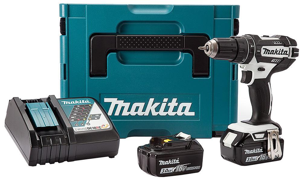 makita dhp482rfwj 18v combi drill white 2 x 3ah batts. Black Bedroom Furniture Sets. Home Design Ideas