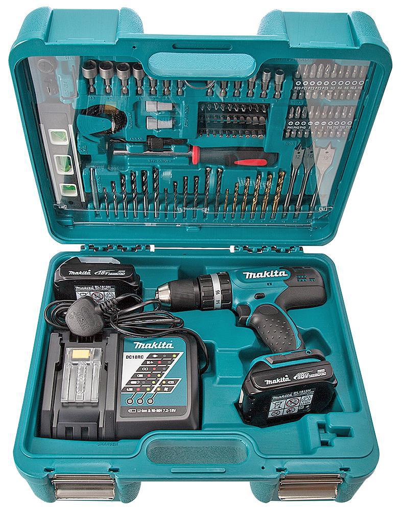 makita dhp453ryx5 18v combi drill 101 bit set kit. Black Bedroom Furniture Sets. Home Design Ideas