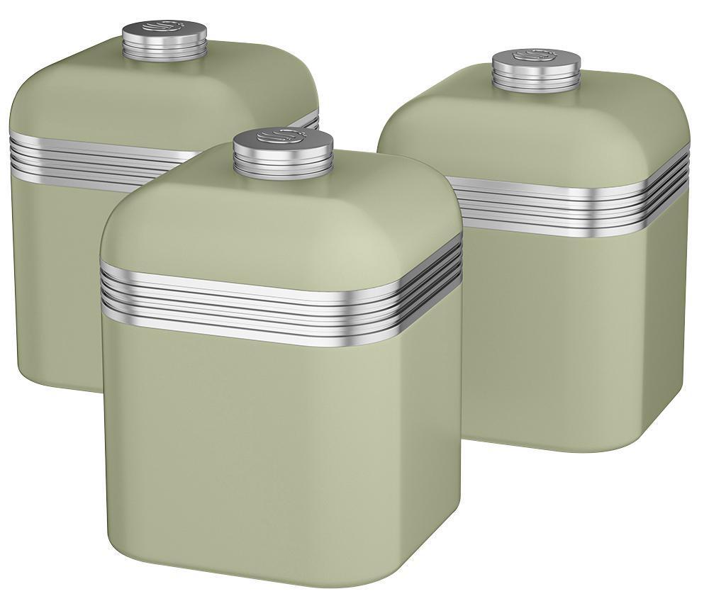 Sage Green Kitchen Storage Jars: Swan Set Of Three Kitchen Canisters (tea/ Coffee/ Sugar