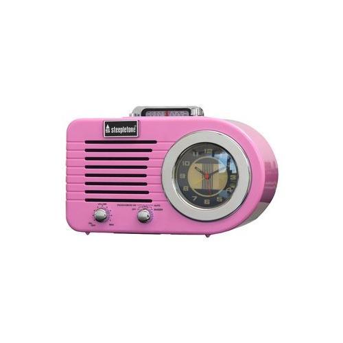 roxette pink steepletone retro alarm clock radio pink ebay. Black Bedroom Furniture Sets. Home Design Ideas