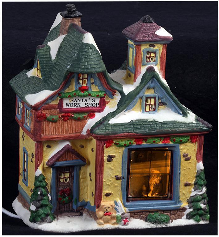 Light-up Santa's Workshop Ornament Height 18cm Xmas