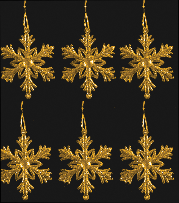 GG92 Tree Trims , Snowflake , Gold , Xmas Decorations & Gifts