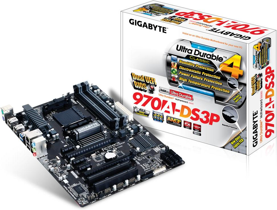 Gigabyte 970A-DS3P Motherboard Socket AM3+ AMD 970 SB950 DDR3 SATA RAID ATX