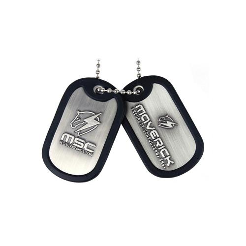 (GE0454) METAL GEAR SOLID Rising Dog Tags with Maverick Logo and Rubber Rim