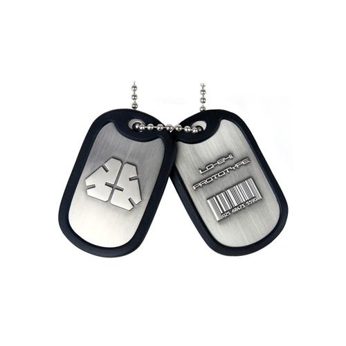 (GE0455) METAL GEAR SOLID Rising Dog Tags with LQ-84i Prototype Logo/Barcode