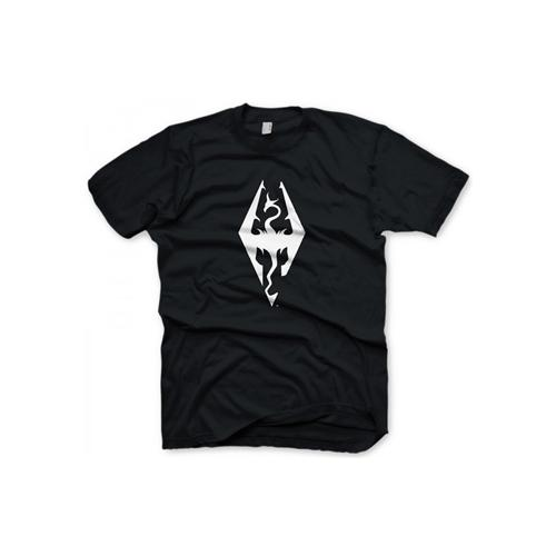 GE1215M THE ELDER SCROLLS Skyrim Dragon Symbol Medium T-Shirt, Black