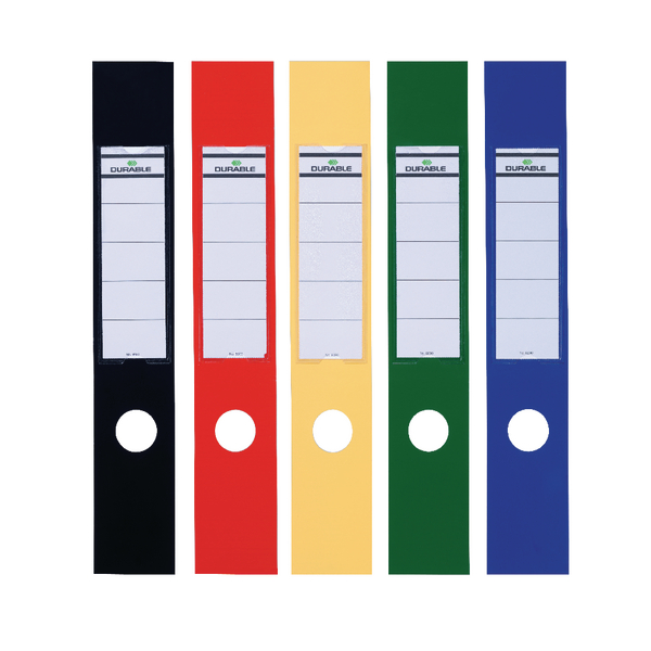 Durable Ordofix Lever Arch File Spine Labels Assorted Pk10