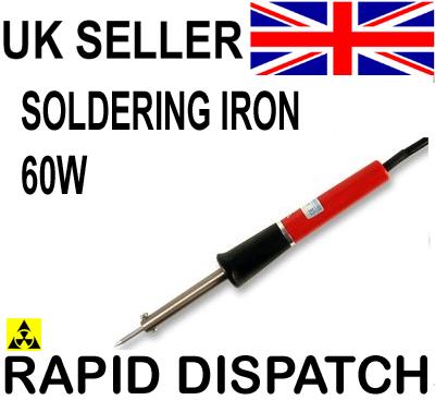 soldering iron uk mains plug 60w pointed tip. Black Bedroom Furniture Sets. Home Design Ideas