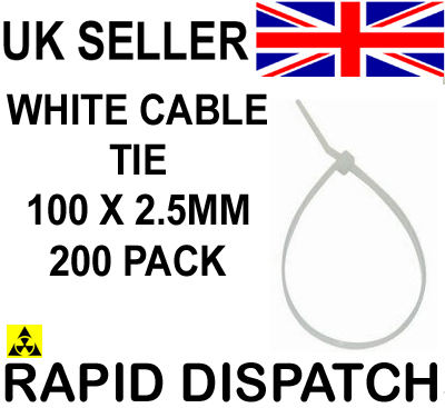 200 pcs x Cable Ties Tidy 100 x 2.5mm WHITE Small