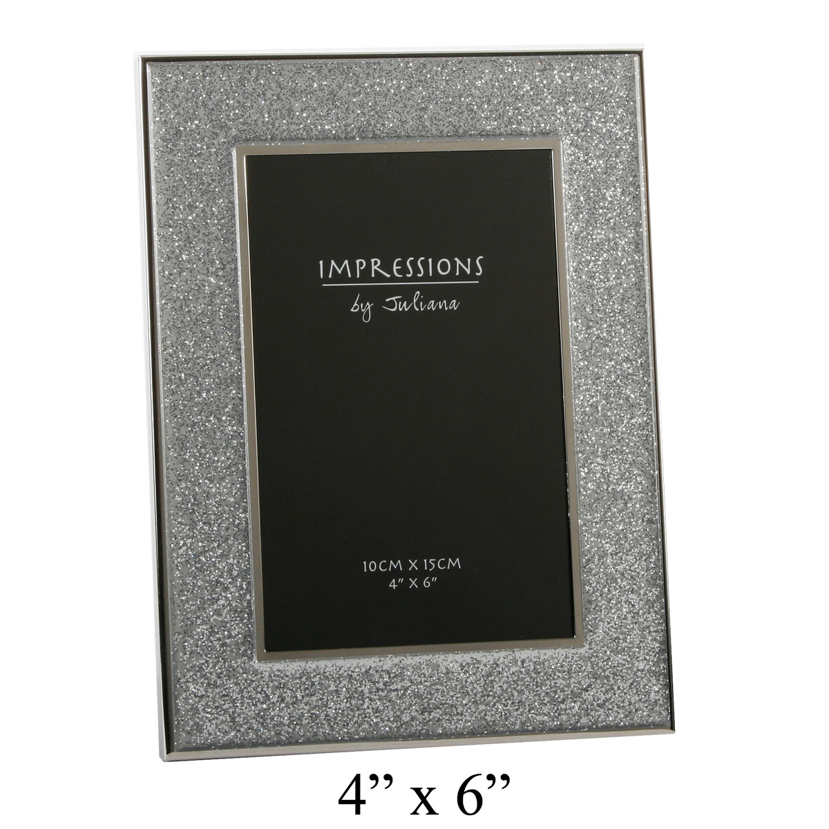 stylish silver sparkly glitter impressions photo picture frame