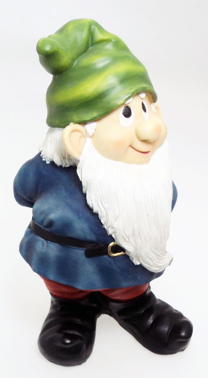 Gnome In Garden: Novelty Outdoor Garden Gnomes. Large Happy Gnome Blue