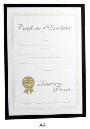 Black Surround A4 Certificate Photo Frame Preview