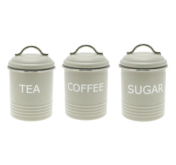 Home sweet home retro green tea coffee sugar kitchen storage jars canisters set ebay - Modern tea and coffee canisters ...