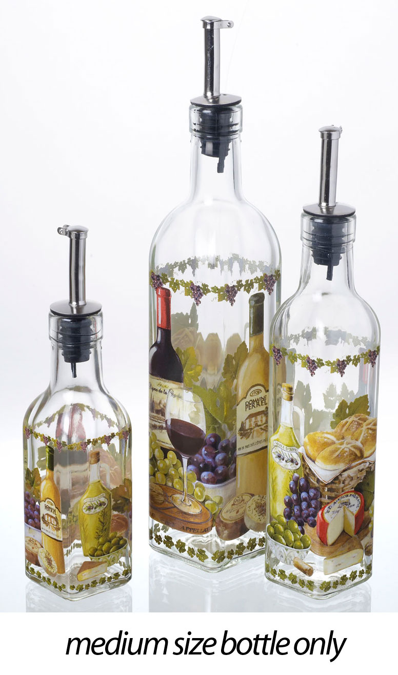 Decorative italian design glass olive cooking oil vinegar for Decorative vials