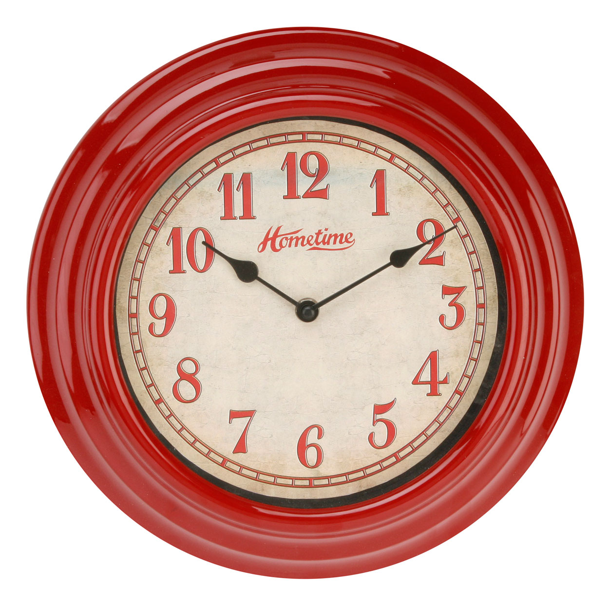 hometime cool retro design red plastic wall clock 30cm kitchen home