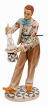 View Item Clown with Rabbit in Hat Circus Figurine