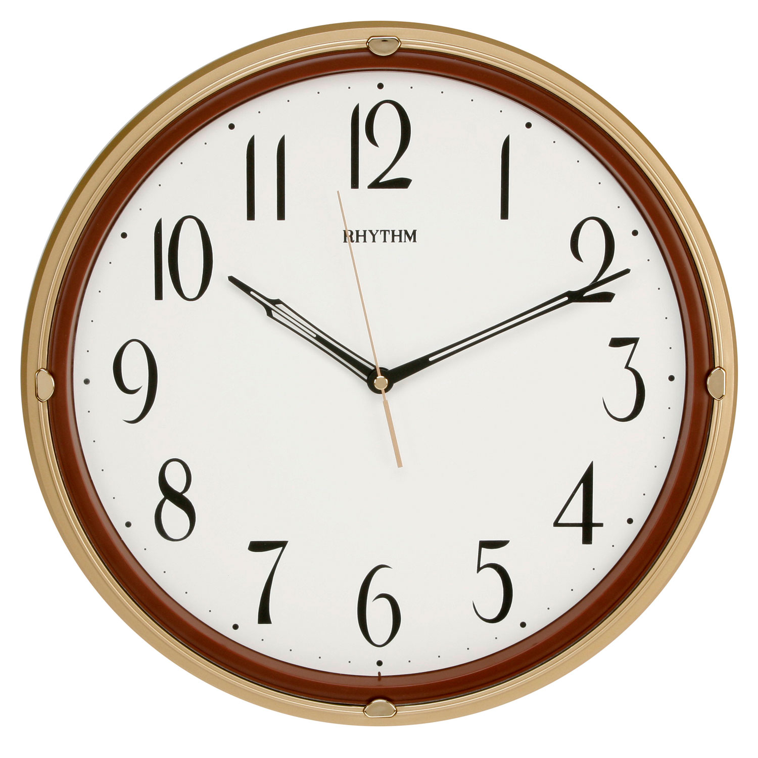 rhythm wall clock silent no ticking plastic gold kitchen bedroom