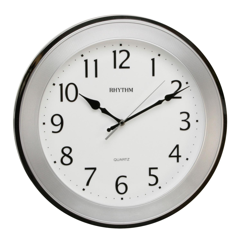 Traditional Rhythm Wall Clock Silent No Ticking Silver