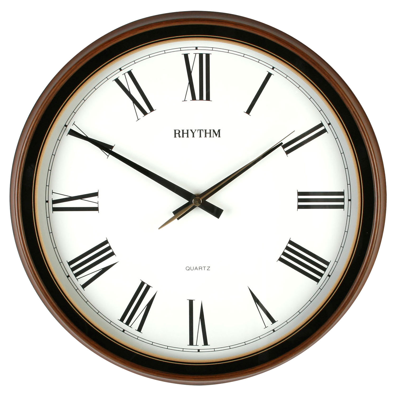 Traditional Rhythm Wall Clock Silent No Ticking In Woodgrain Kitchen Bedroom