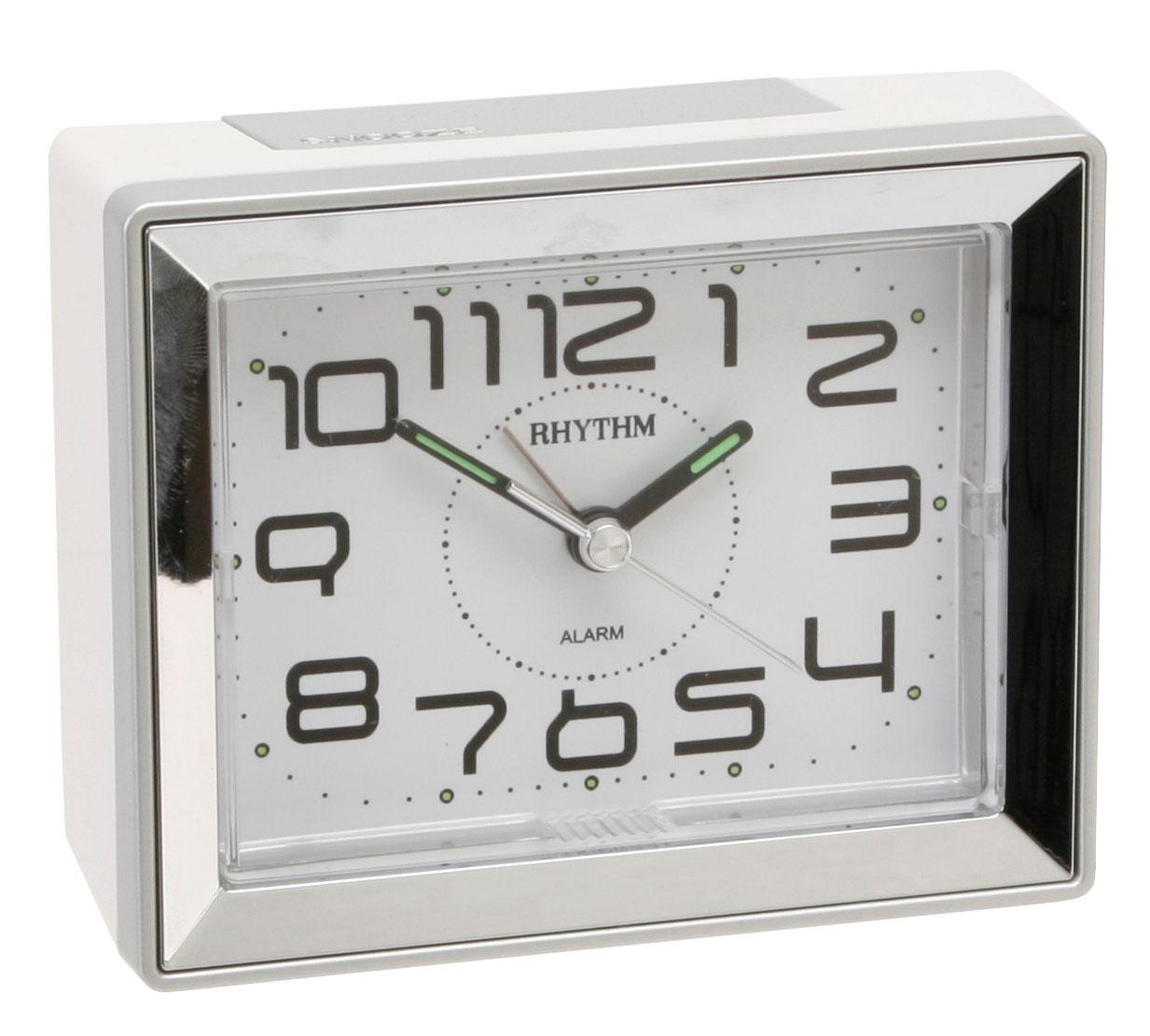 rhythm retro pearl white rectangle alarm clock beep alarm