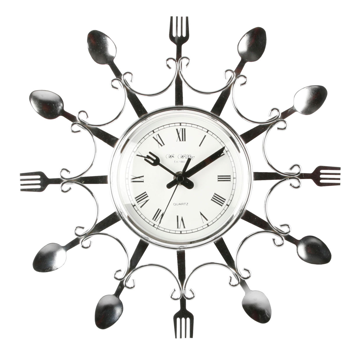 kitchen clocks novelty design chrome colour fork amp spoon designer kitchen wall clocks home design ideas