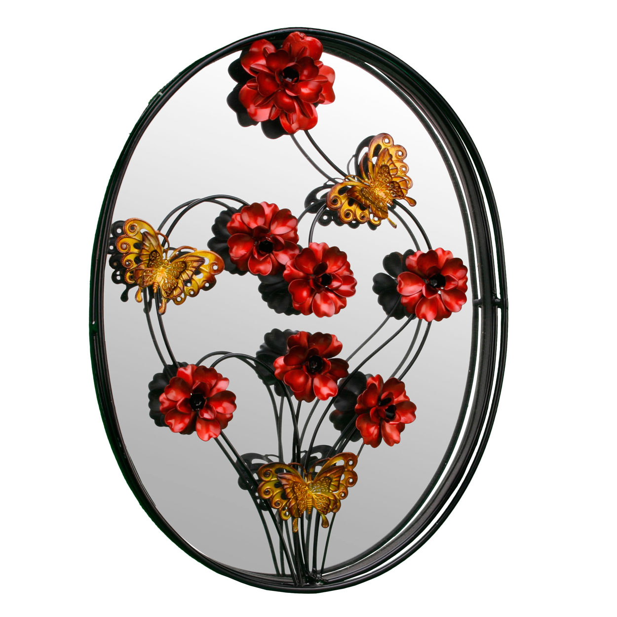Framed Oval Metal Wall Art Mirror Red Flowers Butterfly Hanging Decoration