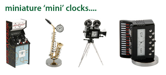 Click here to view our wonderful range of minature mini clocks - almost 100 different designs available at The Emporium Direct!