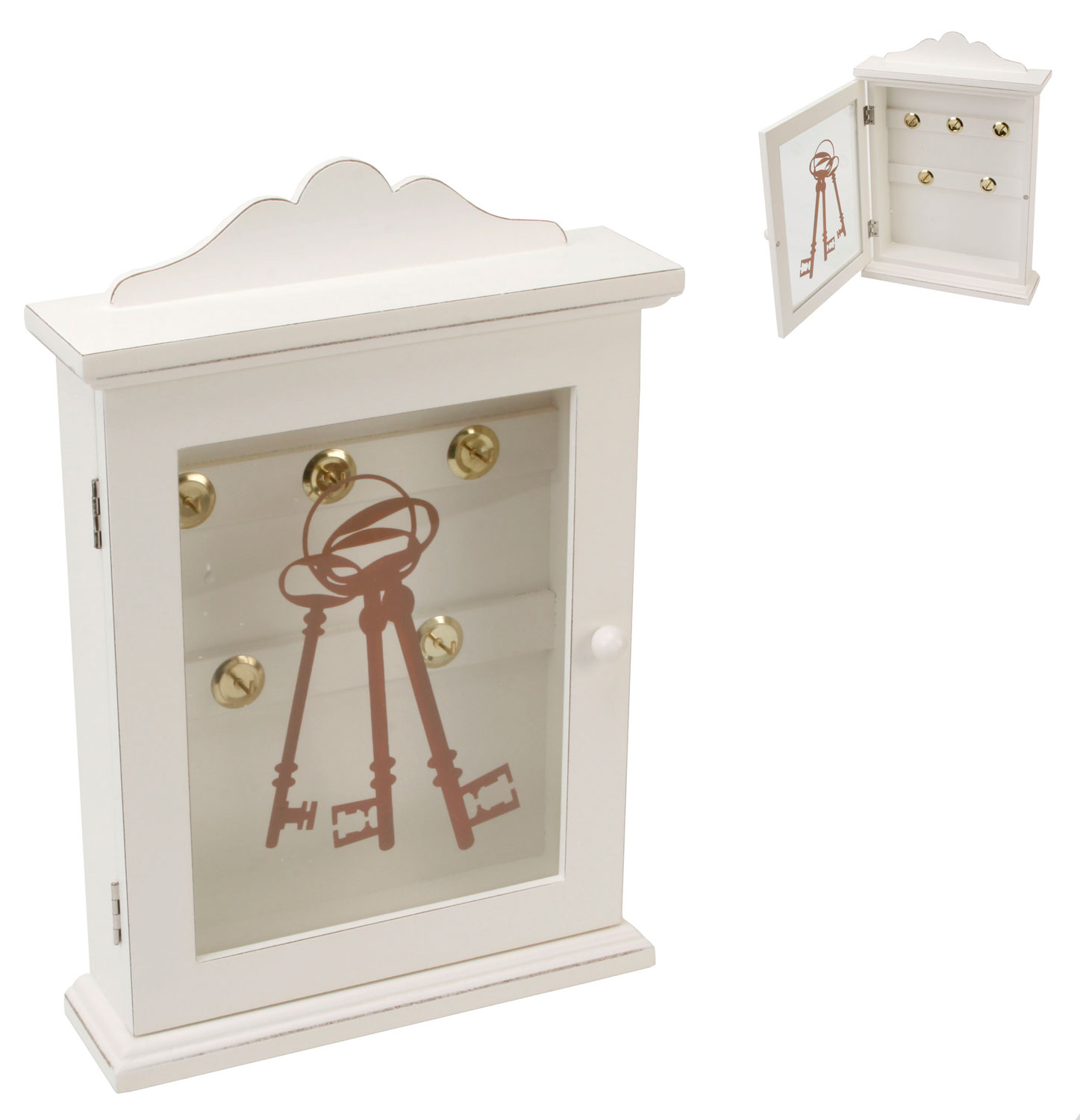 Decorative Vintage White Shabby Wooden Key Cabinet Chic