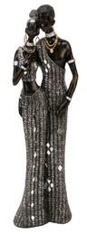 View Item Juliana Black and Silver Masai Figurine Couple 41cms