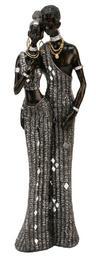View Item Juliana Black and Silver Masai Figurine Couple 41cms