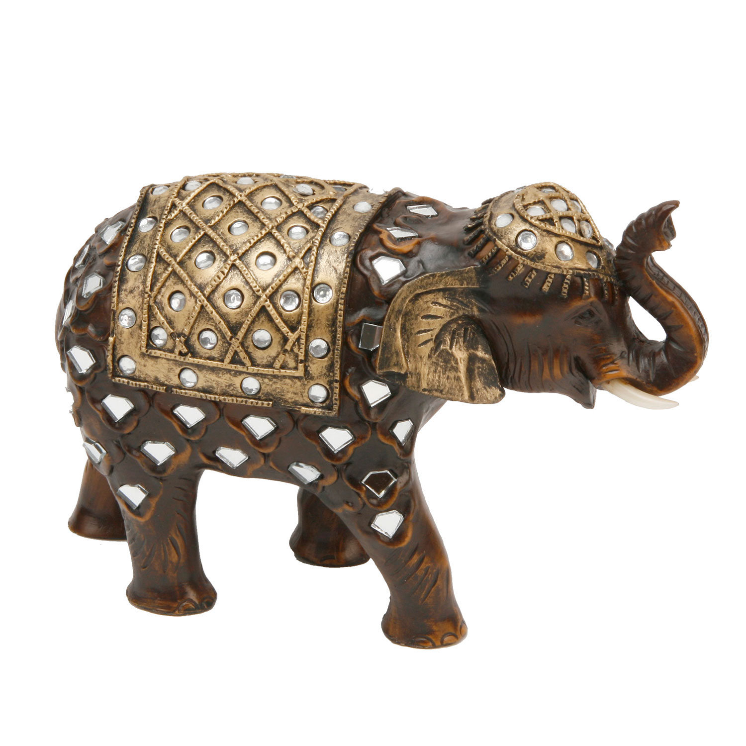 Wood Effect Mirror Glass Elephant Trunk Up Gift Ornament