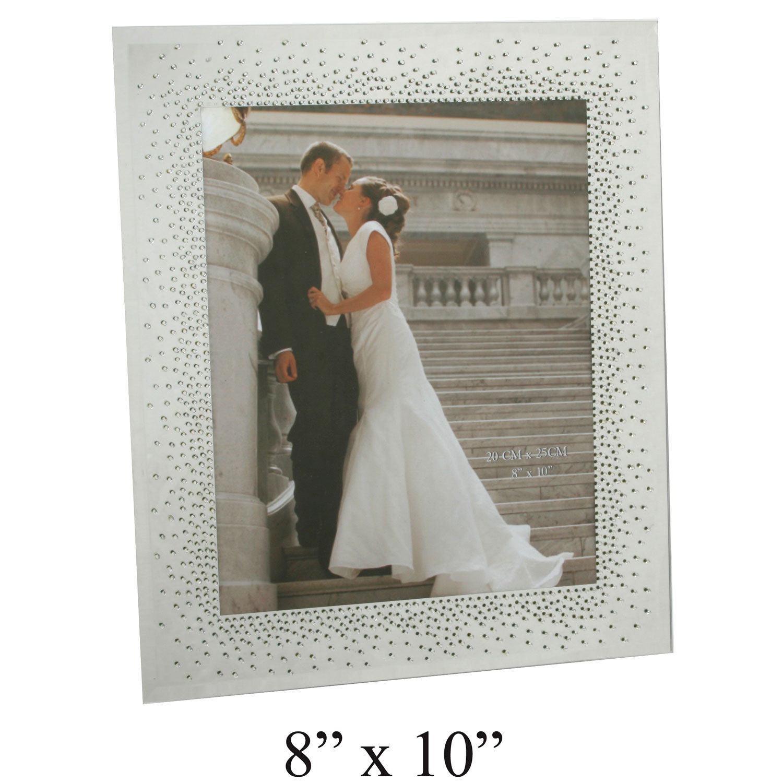 Wedding Present Photo Frame : Wedding Mirror Glass Photo Picture Frame Starburst Crystals Gift ...