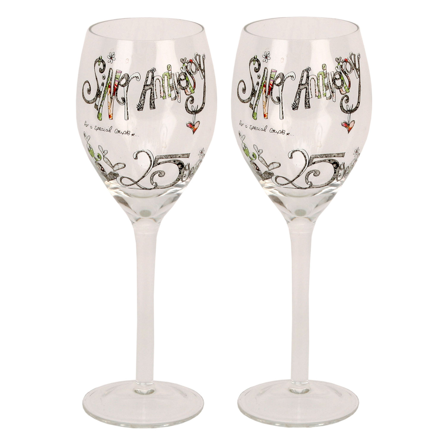 Tracey Russell Decorative Wine Glasses 25th Silver Anniversary Gift Set Glass