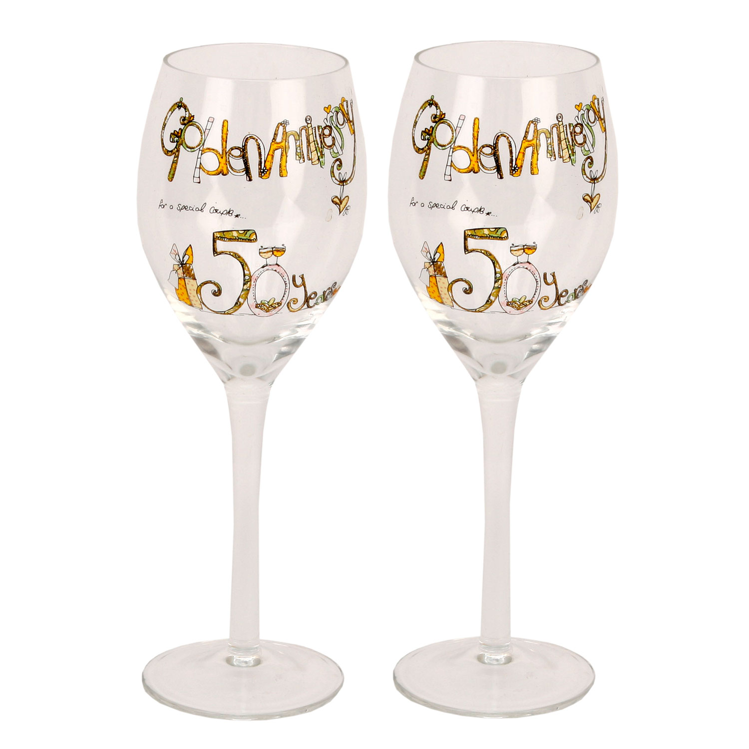 Tracey Russell Decorative Wine Glasses 50th Gold Anniversary Gift Set Glass