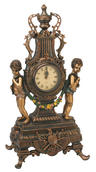 View Item Large Antique Reproduction 2 Cherubs Bronze Colour Mantel Clock