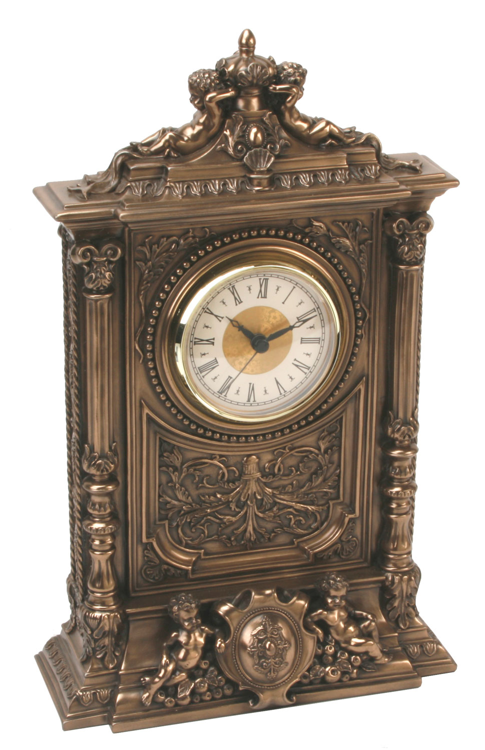 art deco antique baroque design 4 cherubs bronze colour finish mantel clock 12 ebay. Black Bedroom Furniture Sets. Home Design Ideas