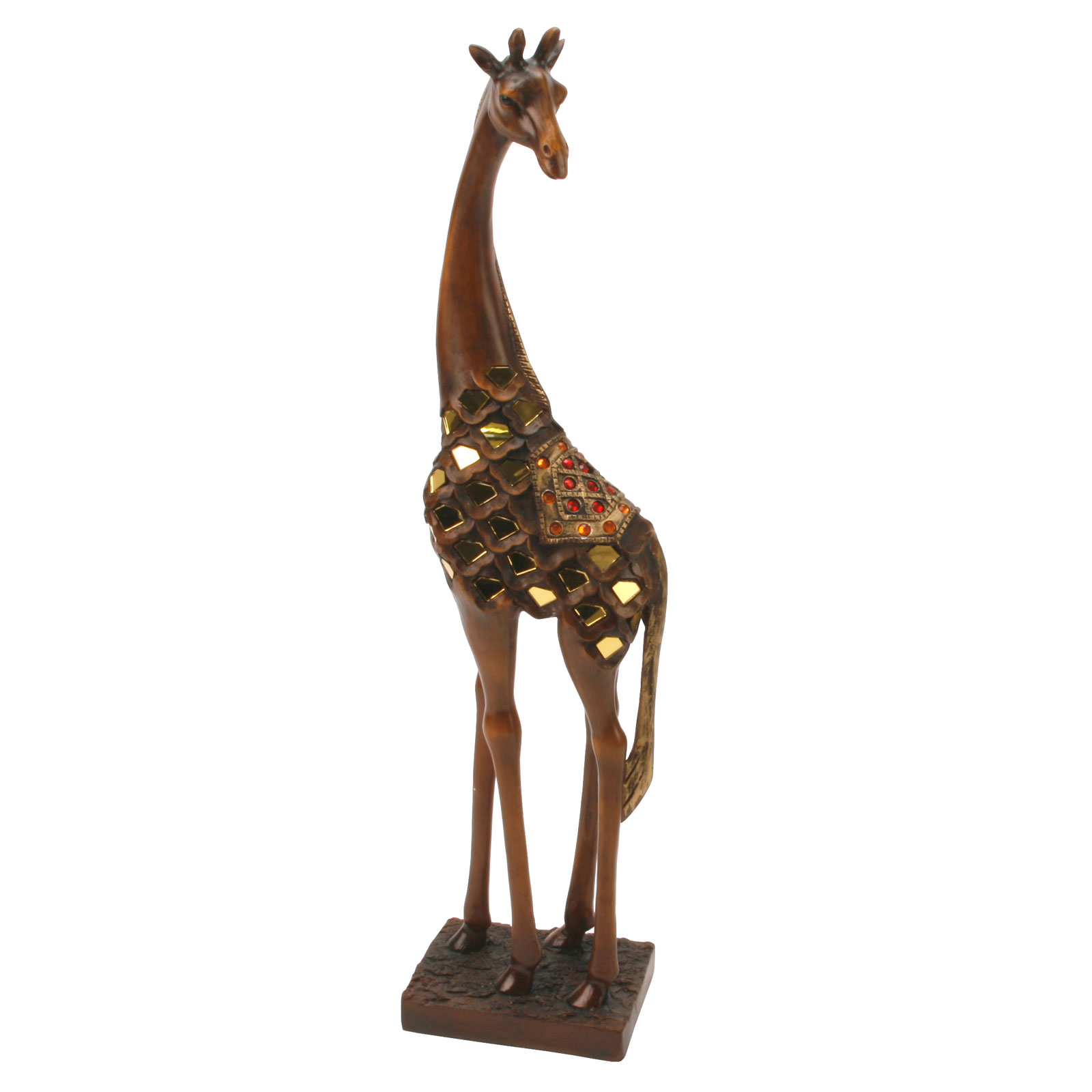Realistic Large Wooden Effect Giraffe Standing 46cm Gift