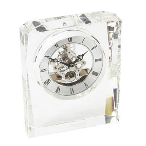 Oblong Crystal Glass Skeleton Cogs Movement Mantle Clock Preview