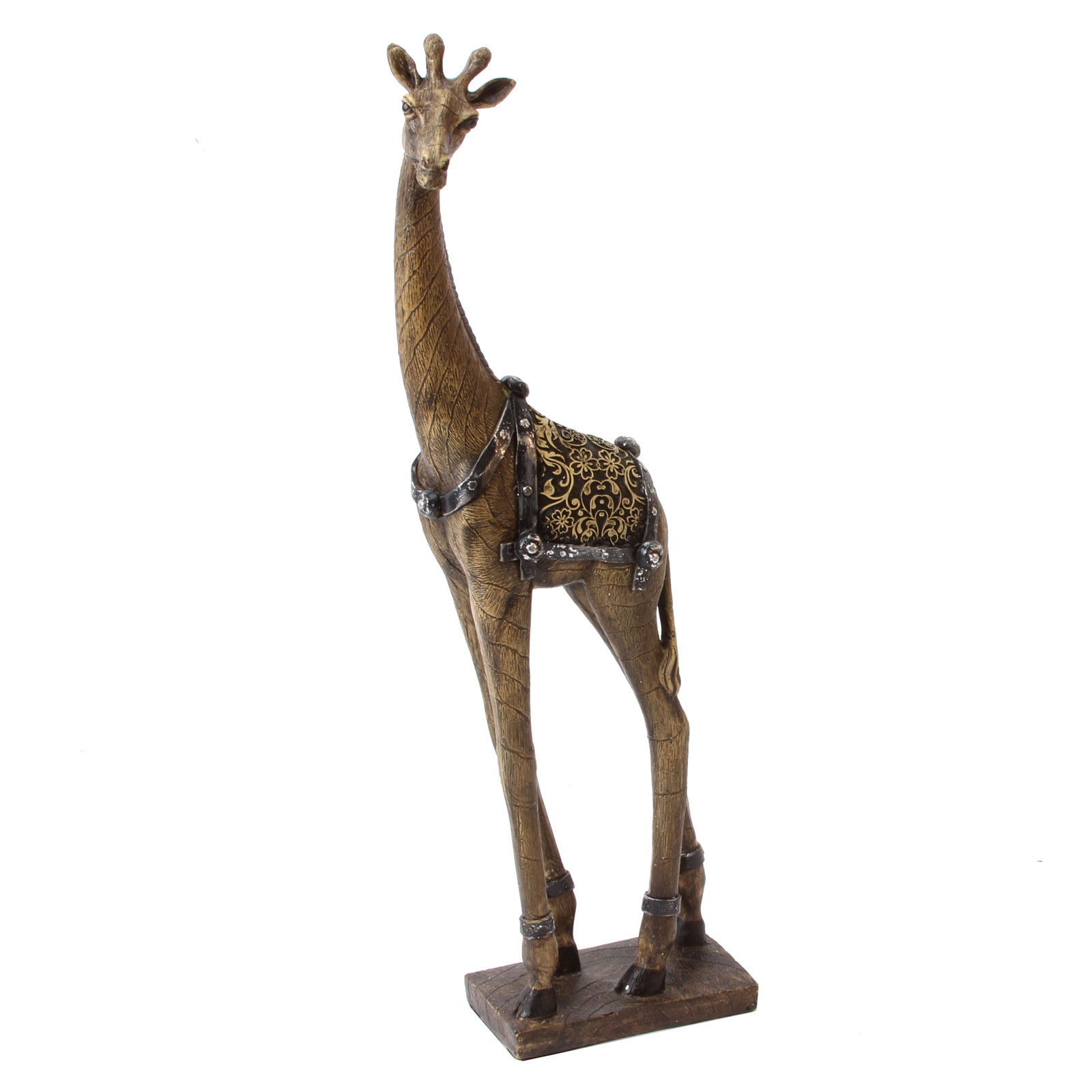 Realistic Large Wooden Effect Giraffe Standing 39cm Gift